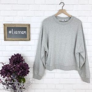 GAP Grey Drop Shoulder Pearl Detail Sweater